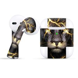 Skins Wraps compatible for Apple Airpods  lion gold lighteni